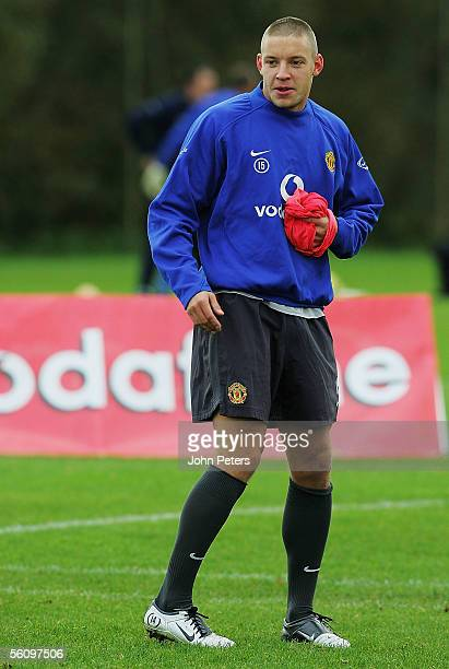 Alan Smith of Manchester United in action during a first team training session at Carrington Training Ground on November 5 2005 in Manchester England