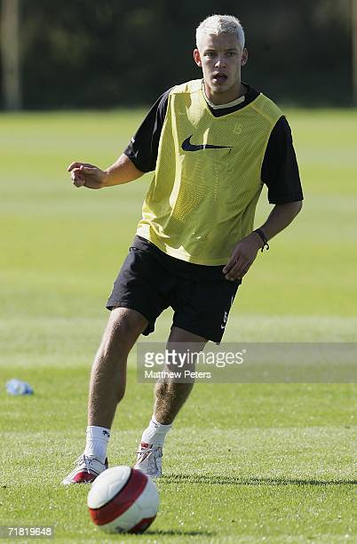 Alan Smith of Manchester United in action during a first team training session at Carrington Training Ground on September 8 2006 in Manchester England