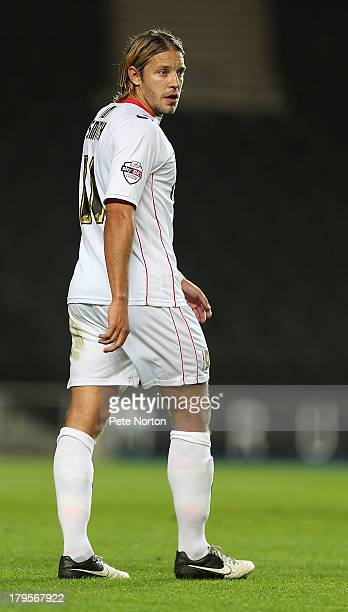 Alan Smith of MK Dons in action during the Johnstone's Paint Trophy First Round match at Stadium mk on September 3 2013 in Milton Keynes England