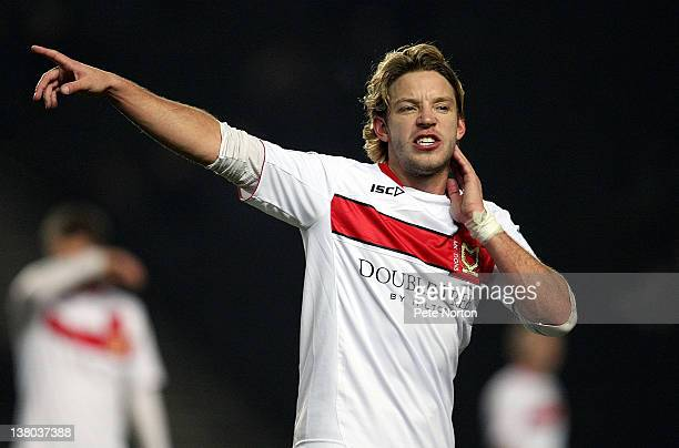 Alan Smith of MK Dons in action during the npower League One match between MK Dons and Sheffield Wednesday at stadiummk on January 31 2012 in Milton...