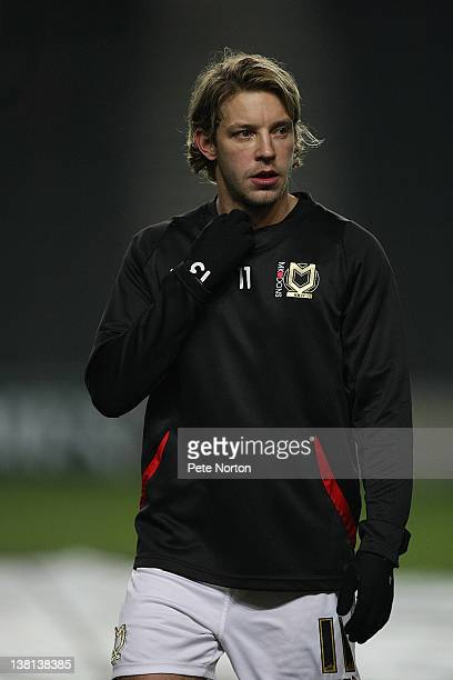 Alan Smith of MK Dons in action during the pre match warm up prior to the npower League One match between MK Dons and Sheffield Wednesday at...