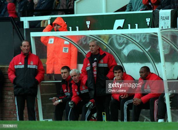 Alan Smith Roy Evans and KarlHeinz Reidler in the dugout during the match between Fulham v Crystal Palace in the Nationwide League Division One...