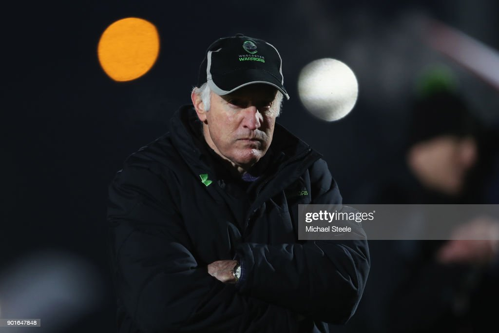 Alan Solomons Director of Rugby of Worcester during the Aviva Premiership match between Worcester Warriors and Bath Rugby at Sixways Stadium on January 5, 2018 in Worcester, England.