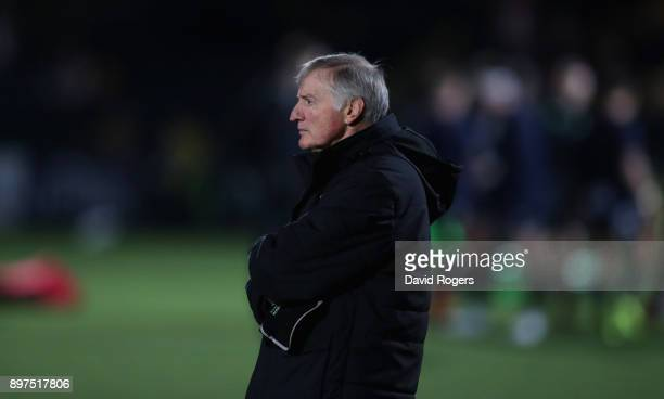 Alan Solomons the Worcester Warriors director of rugby looks on during the Aviva Premiership match between Worcester Warriors and London Irish at...