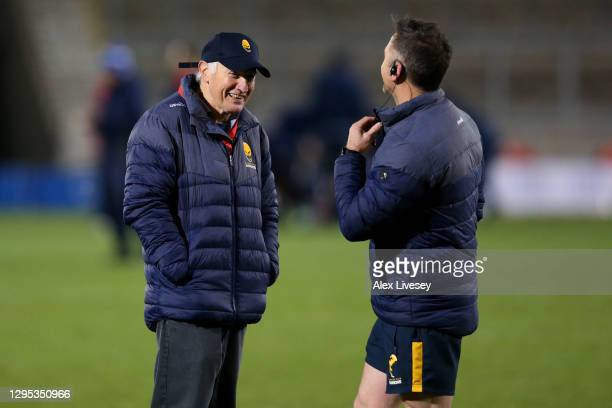 Alan Solomons, Warriors Director of Rugby looks on before the Gallagher Premiership Rugby match between Sale Sharks and Worcester Warriors at AJ Bell...