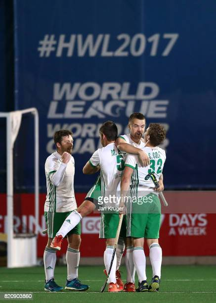 Alan Sothern of Ireland celebrates the win at the fnal whistle with team mates during day 8 of the FIH Hockey World League Men's Semi Finals 5th/ 6th...
