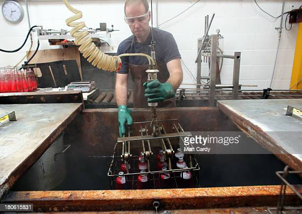 Alan Staton makes special 50th anniversary lava lamps at the Mathmos factory on September 12 2013 in Poole England The company based in Poole Dorset...