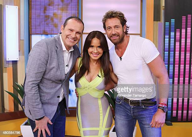Alan Tacher Adriana Louvier and Gabriel Soto are seen on the set of Despierta America at Univision Studios on July 13 2015 in Miami Florida