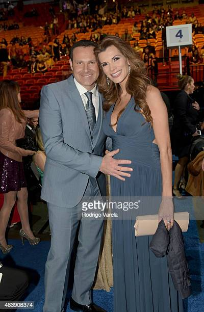Alan Tacher and Cristina Bernal attend the 2015 Premios Lo Nuestros Awards at American Airlines Arena on February 19 2015 in Miami Florida