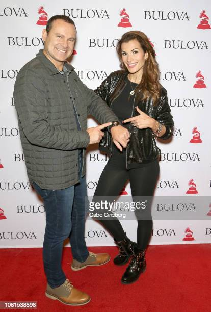 Alan Tacher and Cristina Bernal attend the gift lounge during the 19th annual Latin GRAMMY Awards at MGM Grand Hotel Casino on November 14 2018 in...