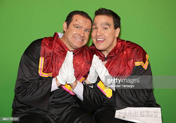 Alan Tacher and Raul Gonzalez are seen on the set of Univision's Despierta America at Univision Headquarters on January 21 2014 in Miami Florida