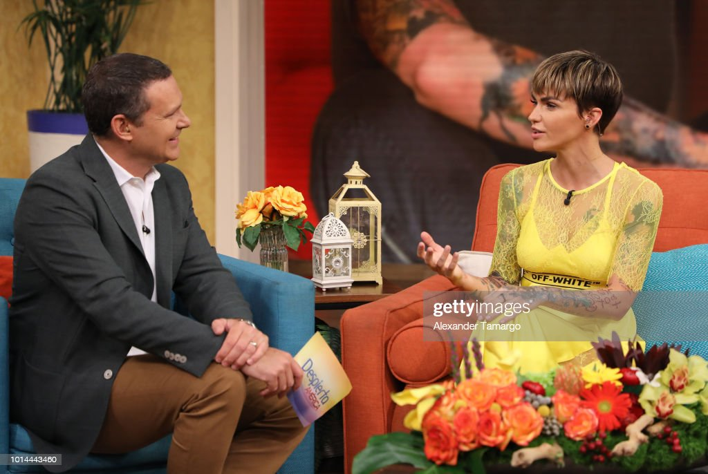 Alan Tacher and Ruby Rose are seen on the set of 'Despierta America' at Univision Studios to promote the film 'The MEG' on August 10, 2018 in Miami, Florida.