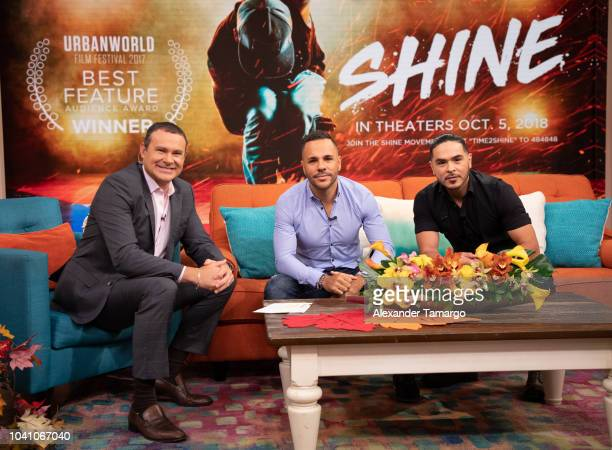 Alan Tacher Anthony Nardolillo and Gilbert Saldivar are seen on the set of 'Despierta America' at Univision Studios to promote the film 'SHINE' on...
