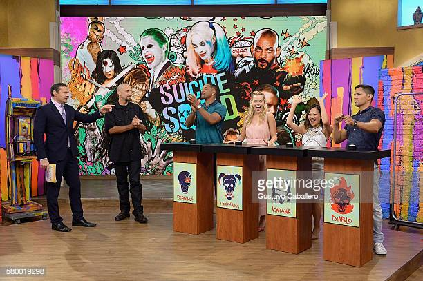 "Alan Tacher, David Ayer , Will Smith, Margot Robbie, Karen Fukuhara and Jay Hernandez on the set of Univisions ""Despierta America"" to support the..."