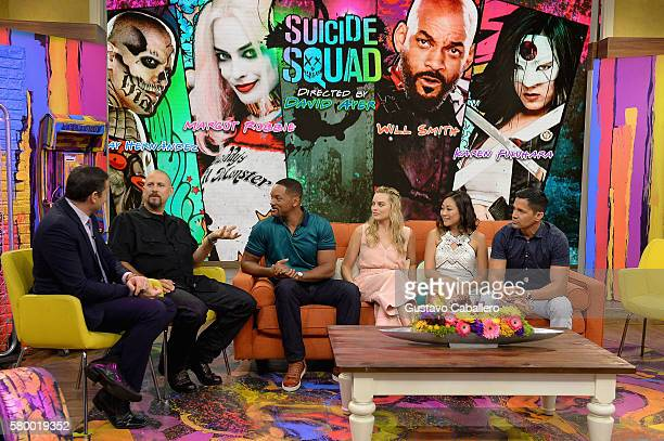 """Alan Tacher, David Ayer , Will Smith, Margot Robbie, Karen Fukuhara and Jay Hernandez on the set of Univisions """"Despierta America"""" to support the..."""