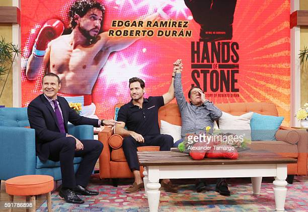 Alan Tacher Edgar Ramirez and Roberto Duran are seen on the set of 'Despierta America' to promote the film 'Hands of Stone' at Univision Studios on...