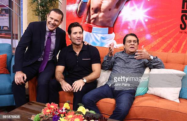 Alan Tacher Edgar Ramirez and Roberto Duran are seen on the set of Univisions 'Despierta America' to support the film 'Hands Of Stone' at Univision...
