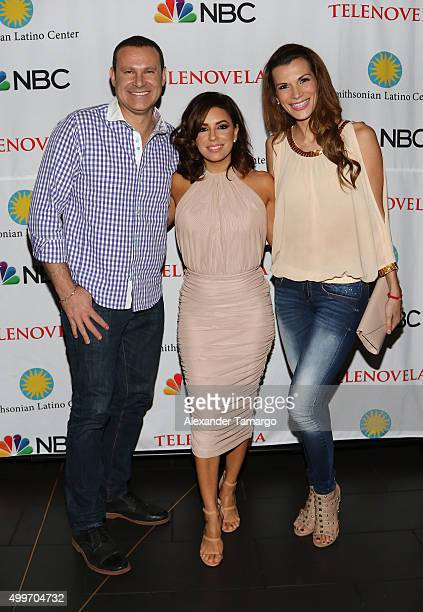 Alan Tacher Eva Longoria and Cristina Bernal are seen at the 'Telenovela' Miami screening event Hosted By The Smithsonian at CineBistro Dolphin Mall...