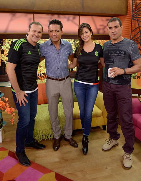 Alan Tacher, Fernando Colunga, Ana Patricia Gamez and Eduardo Yanez are seen on the set of 'Despierta America' to promote the film 'Ladrones' at...