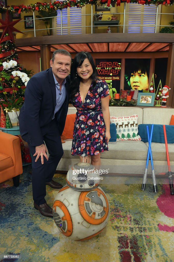 Alan Tacher ,Kelly Marie Tran and BB-8 are seen on the set of 'Despierta America' to promote the movie Star Wars: The Last Jedi at Univision Studios on December 7, 2017 in Miami, Florida.