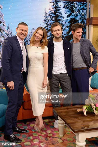 Alan Tacher Lily James Dougla Booth and Matt Smith are seen during on the set of Univision's 'Despierta America' to promote the film 'Pride and...