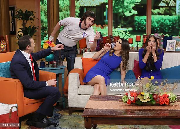 Alan Tacher Sacha Baron Cohen Ana Patricia Gamez and Francisca Lachapel are seen on the set of 'Despierta America' to promote the film 'The Brothers...