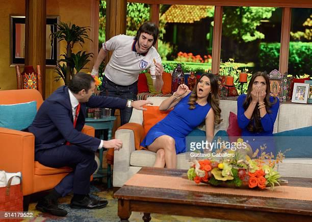 Alan Tacher Sacha Baron Cohen Ana Patricia Gamez and Francisca Lachapel are seen on the set of Univision's 'Despierta America' to promote 'The...