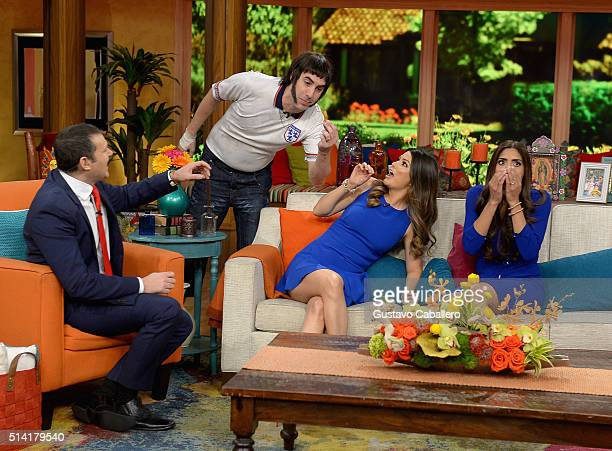 Alan Tacher Sacha Baron Cohen Ana Patricia Gamez and Francisca Lachapel are seen on the set of Univision's Despierta America to promote The Brothers...
