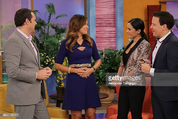 Alan Tacher Satcha Pretto Karla Martinez and Raul Gonzalez are seen on the set of Univision's Despierta America shortly after Satcha announced she is...