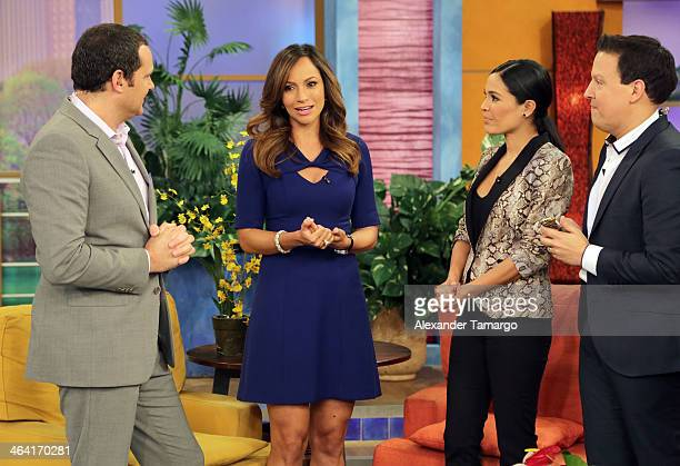 Alan Tacher Satcha Pretto Karla Martinez and Raul Gonzalez are seen on the set of Univision's 'Despierta America' shortly after Satcha announced she...