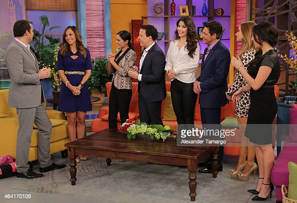 Alan Tacher Satcha Pretto Karla Martinez Raul Gonzalez Ana Patricia Gonzalez Johnny Lozada Ximena Cordoba and Maity Interiano are seen on the set of...