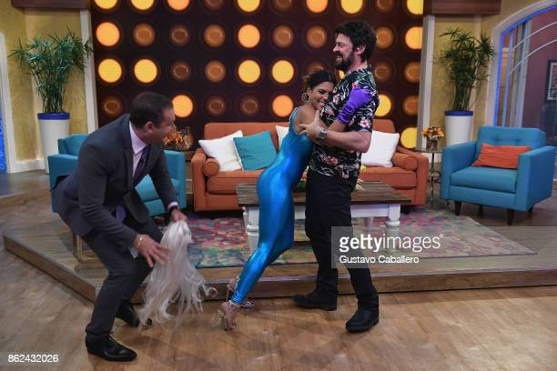 Alan TacherFrancisca Lachapel and Karl Urban are on the set to promote the movie THOR RAGNAROK on Despierta America morning show at Univision Studios...