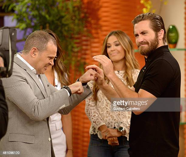 Alan TacherKarla Martinez and Jake Gyllenhaal on the set of 'Despierta America' to promote the film 'Southpaw' at Univision Studios on July 17 2015...