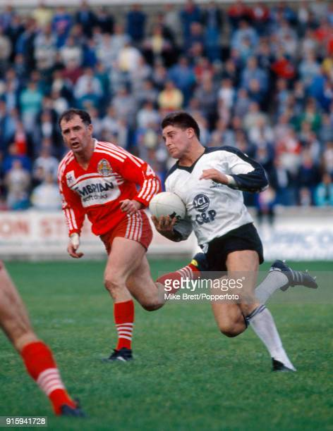 Alan Tait scores a Try for Widnes in their rugby league match against Salford on 2nd October 1988.