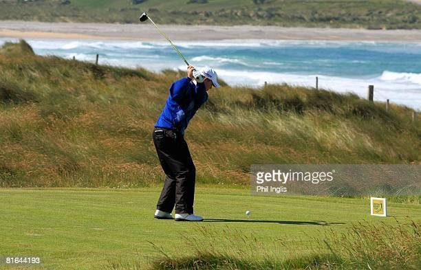 Alan Tapie of US drives from the 14th tee during the first round of the Irish Seniors Open played on the Old Links course at Ballyliffin Golf Club on...