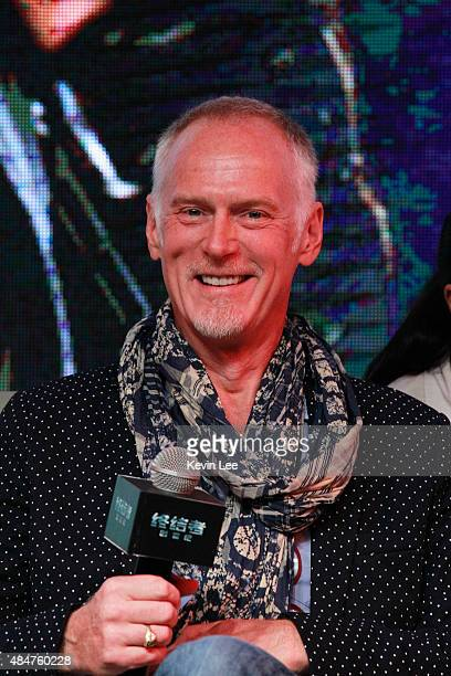 Alan Taylor Director reacts at the press conference of Terminator Genisys on August 21 2015 in Shanghai China