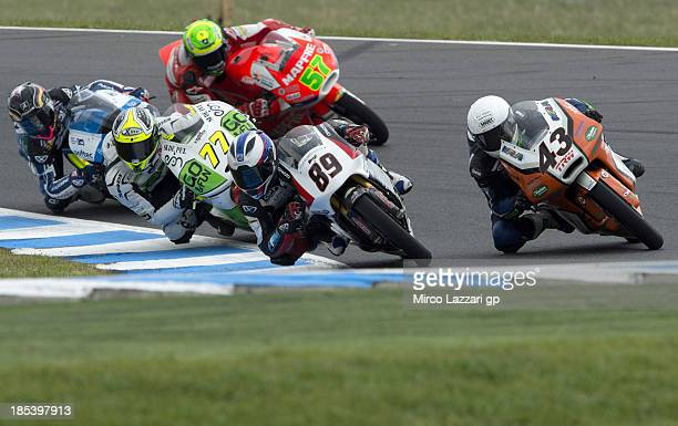 Alan Techer of France and Cip Moto3 leads the field during the Moto3 race ahead of the Australian MotoGP which is round 16 of the MotoGP World...