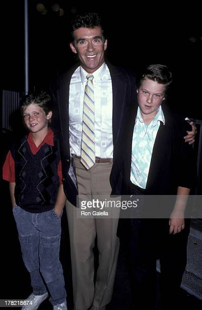 Alan Thicke and sons Brennan Thicke and Robin Thicke attend ABC TV Affiliates Party on June 5 1986 at the Century Plaza Hotel in Century City...