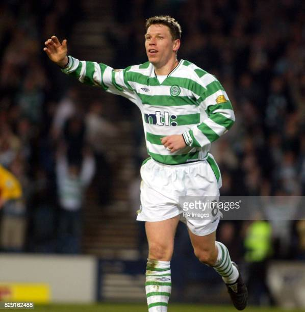 Alan Thompson celebrates his 2nd goal for Celltic against Ayr during their Tennents Scottish Cup semifinal match at Hampden Park in Glasgow Saturday...