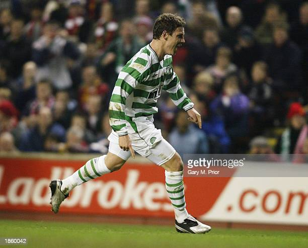 Alan Thompson of Celtic celebrates after scoring the first goal with a free kick during the Liverpool v Glasgow Celtic UEFA Cup Quarter Final Second...
