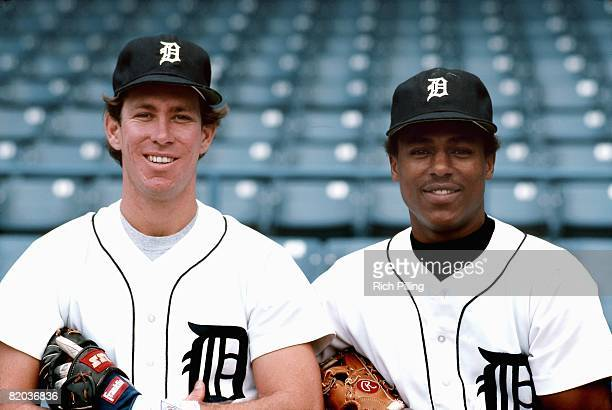 Alan Trammell and Lou Whitaker of the Detroit Tigers pose for a portrait before a game circa 1984 at Tiger Stadium in Detroit, Michigan.