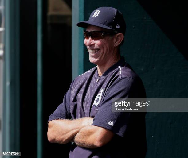 Alan Trammell, former Detroit Tigers shortstop and currently a special assistant to General Manager Al Avila, visits the dugout during a game against...