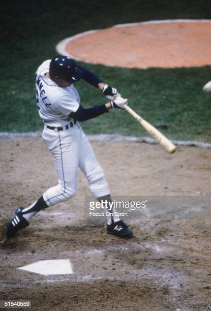 Alan Trammell of the Detroit Tigers bats against the San Diego Padres during the World Series at Tiger Stadum in Detroit Michigan in October of 1984
