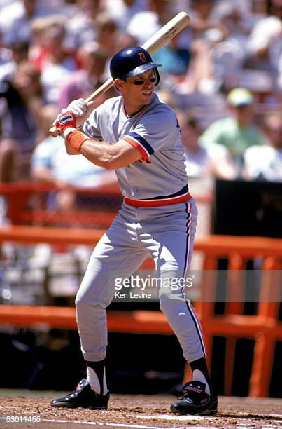Alan Trammell of the Detroit Tigers bats during a game in the 1991 season against the California Angels at Anaheim Stadium in Anaheim California