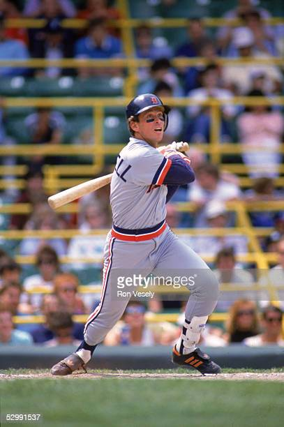 Alan Trammell of the Detroit Tigers bats during an MLB game at Comiskey Park in Chicago Illinois Alan Trammell played for the Detroit Tigers from...