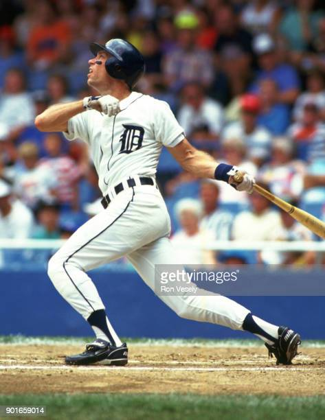 Alan Trammell of the Detroit Tigers bats during an MLB game at Tiger Stadium in Detroit Michigan during the 1987 season