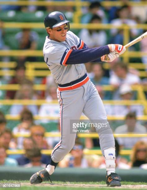 Alan Trammell of the Detroit Tigers bats during an MLB game versus the Chicago White Sox at Comiskey Park in Chicago Illinois during the 1987 season