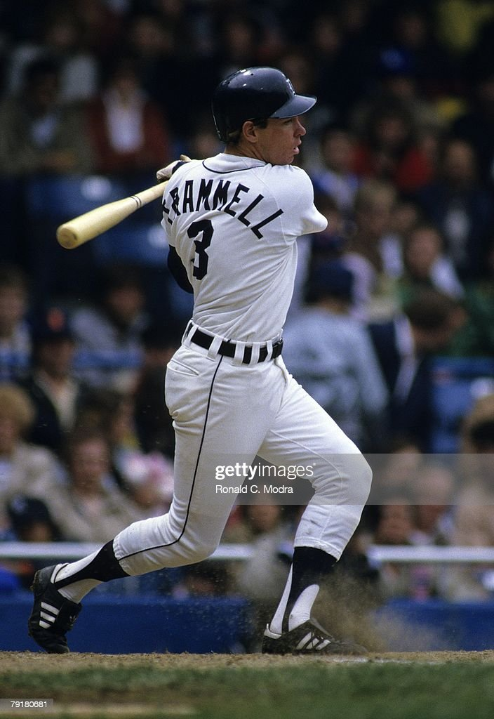 Alan Trammell #3 of the Detroit Tigers batting during a game against the California Angels in May 1984 in Detroit, Michigan.
