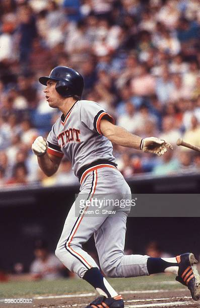 Alan Trammell of the Detroit Tigers circa 1983 bats against the Baltimore Orioles at Memorial Stadium in Baltimore Maryland