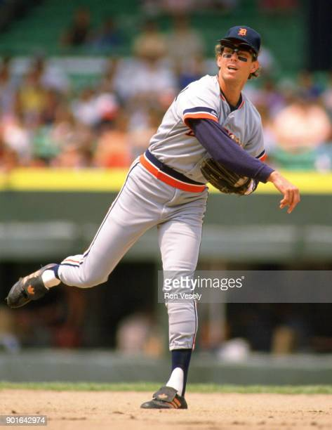 Alan Trammell of the Detroit Tigers fields during an MLB game versus the Chicago White Sox at Comiskey Park in Chicago Illinois during the 1987 season
